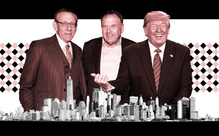 From left: Related chairman Stephen Ross, LeFrak CEO Richard LeFrak and President Donald Trump (Getty)