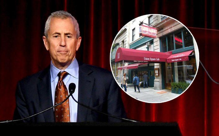 Union Square Hospitality Group CEO Danny Meyer and the Union Square Cafe (Photos via Getty; Wikipedia Commons)