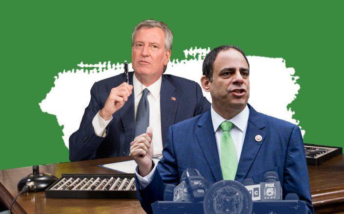 MayorBill de Blasio and Queens Democratic Council member Costa Constantinides (Getty)