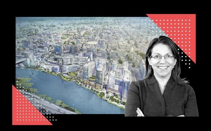 A rendering of the Flushing waterfront and City Planning commissioner Michelle de la Uz (Rendering via Hill West Architects; New York Housing Conference)