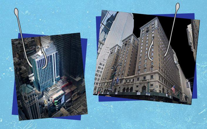Hilton Times Square at 234 West 42nd Street and Roosevelt Hotel at 45 East 45th Street (Google Maps; Pixabay)