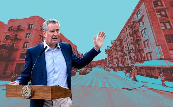 Mayor Bill de Blasio (Getty; Google Maps)