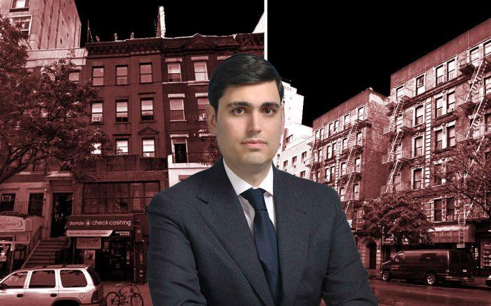 Emerald Equity's Isaac Kassirer  with 110 West 116th Street and 120 West 116th Street (Google Maps; Emerald)
