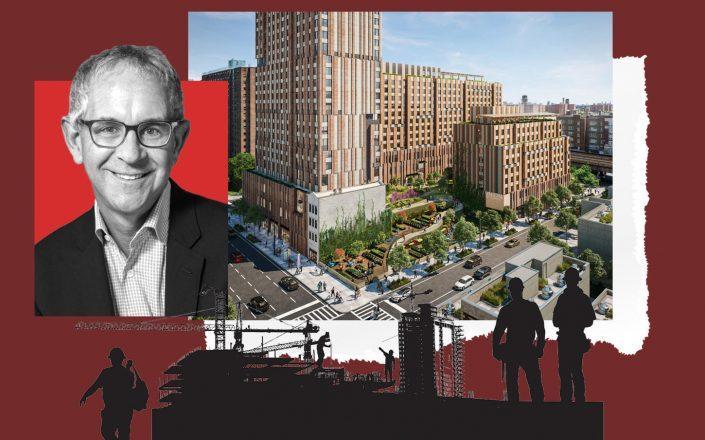 L+M Development Partners' Ron Moelis and a rendering of Sendero Verdo (Photos via L+M; Handel Architects)