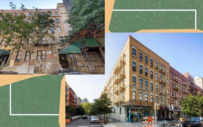 214 West 109th Street and 2111 Frederick Douglass Boulevard, two building part of the portfolio (Photos via Google Maps; StreetEasy)