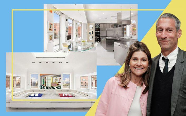 Lisa and Richard Perry with 1 Sutton Place South (Photos via Getty; StreetEasy/Sotheby's)
