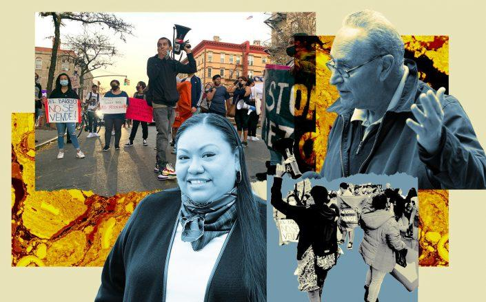 Assemblymember Marcela Mitaynes  and Sen. Charles Schumer (Photos via Protect Sunset Park; Getty; Facebook)