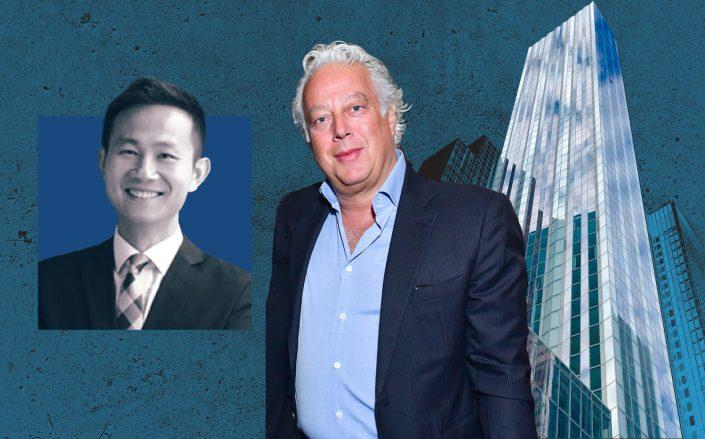 Vanke US managing director Kai-yan Lee, RFR's Aby Rosen and 100 East 53rd Street (Photos via Foster + Partners and Getty)