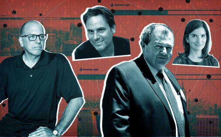 RealPlus' Eric Gordon, Michael Gabriel and REBNY's James Whelan and Ninve James (Gordon by Emily Assiran; Whelan viaFacebook/REBNY; homes.nyc)