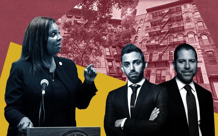 From left: Letitia James, Raphael Toledano and Josh Zegen with 223 East 5th Street and 325 East 12th Street (Getty, Google Maps)