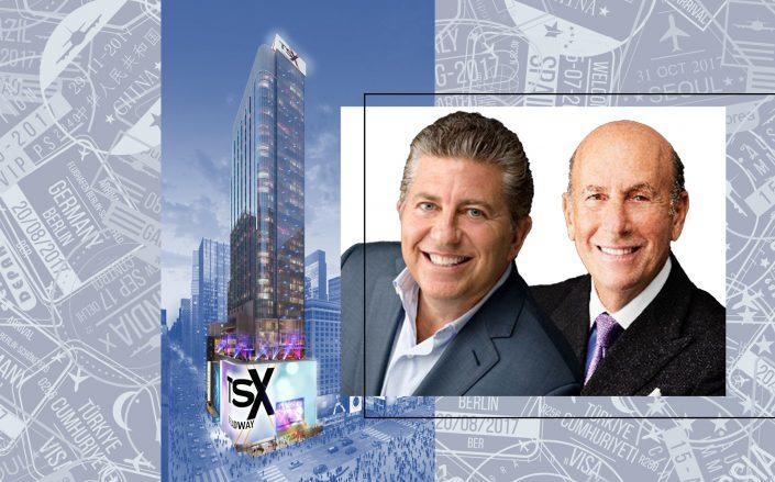 A rendering of TSX Broadway with L&L Holding's Robert Lapidus and David Levinson (Photos via L&L)