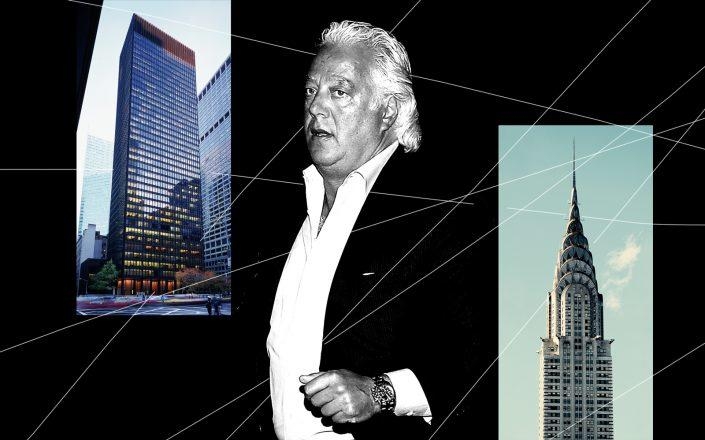 RFR Holding's Aby Rosen with the Seagram Building and the Chrysler Building (Photos via Getty; iStock)