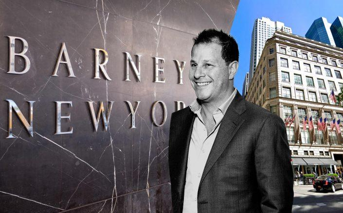 Authentic Brands CEO Jamie Salter with 611 Fifth Avenue (Getty; Google Maps)