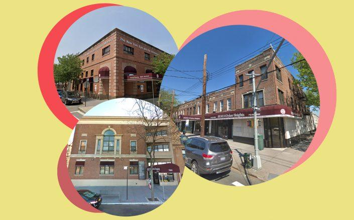 Clockwise from left: 9020 Fifth Avenue, 7115-21 13th Avenue and 7601 Fourth Avenue in Bay Ridge (Google Maps)