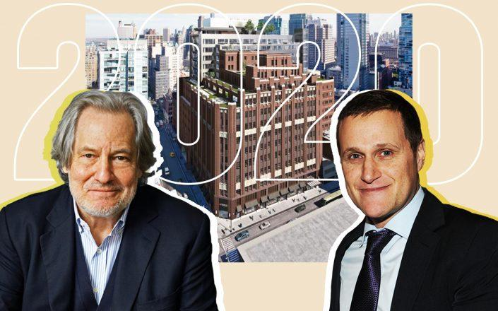 Chris Whittle and Tishman Speyer's Rob Speyer with a rendering of The Wheeler at 181 Livingston Street (Photos via Getty Images and The Whittle School)