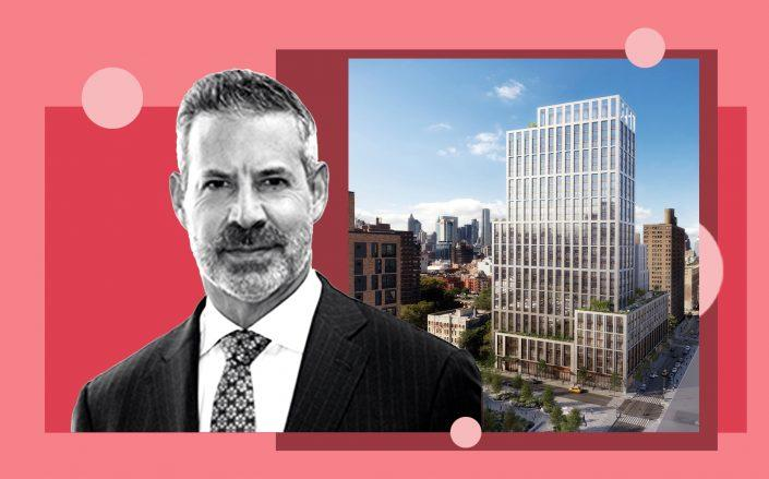 Gotham Organization CEO David Picket and a rendering of the Broome Street Development complex (Gotham; Community at Broome)