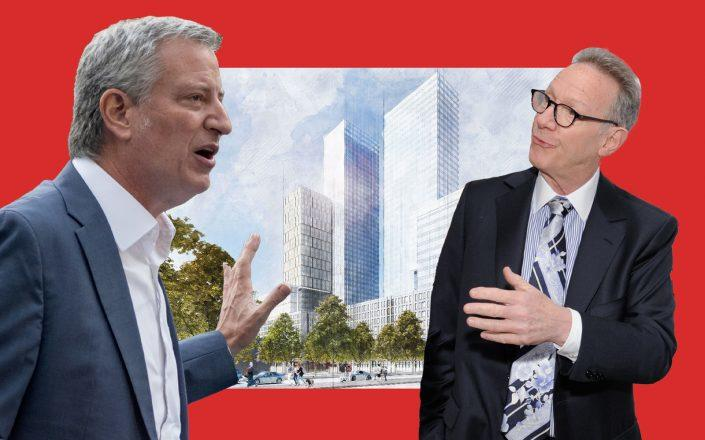 Mayor Bill de Blasio, Bruce Eichner of Continuum Company and a rendering of two 39-story residential towers at 960 Franklin Avenue in Crown Heights (Photos via Getty; YIMBY)