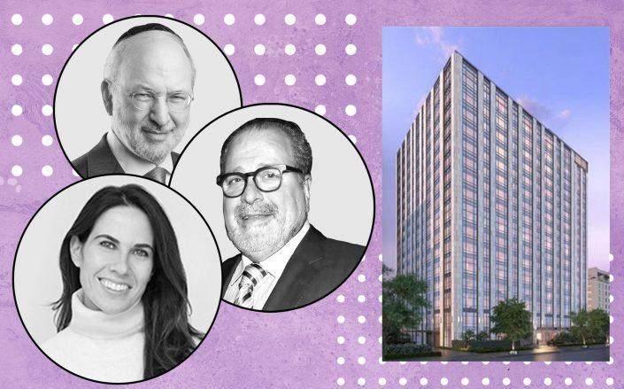 Clockwise from top: David Bistricer of Clipper Equity, Joseph Chetrit a rendering of the Gramercy Square condominium and Robyn Sorid of G4 Capital Partners (Photos via Clipper Equity, Getty, VUW, G4)