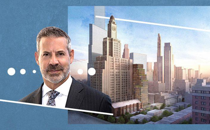 Gotham Organization CEO David L. Picket and renderings of the (Photos via Gotham; FXCollaborative)