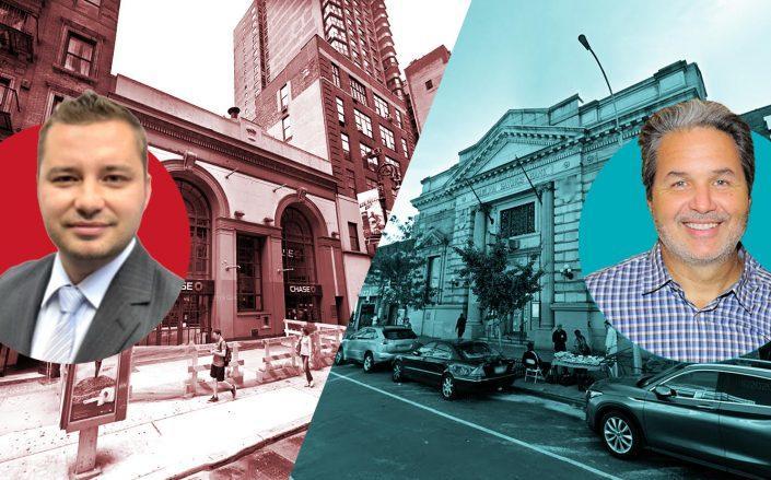 From left: Rybak Development's Sergey Rybak, 126 East 86th Street, 128 East 125th Street, Maddd Equities' Jorge Madruga (Rybak, Google Maps; Getty)