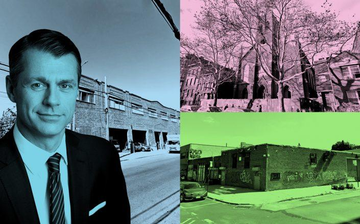 Clockwise from left: Brookfield Property Group CEO Brian Kingston, 845 East 136th Street in the Bronx, 1010 Bedford Avenue and 120 Evergreen Avenue in Brooklyn (Google Maps; Brookfield)