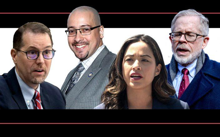 From left: Councilmember Mark Levine, Sen. Gustavo Rivera, Councilmember Carlina Rivera and Assemblyman Richard Gottfried (Getty; New York City Council)