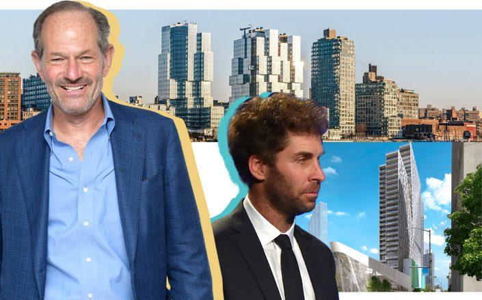 From left: Eliot Spitzer, 420 Kent Avenue, Two Trees Management's Jed Walentas  and 300 Ashland Place in Brooklyn (Photos via Getty; ODA Architecture, 300 Ashland)