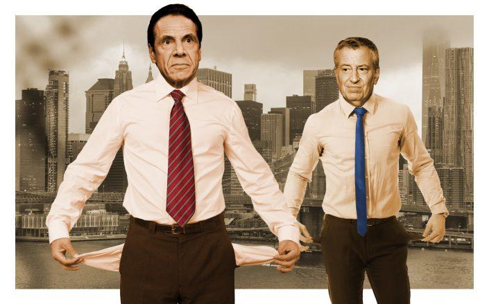 A photo illustration of Gov. Andrew Cuomo and Mayor Bill de Blasio (Getty)