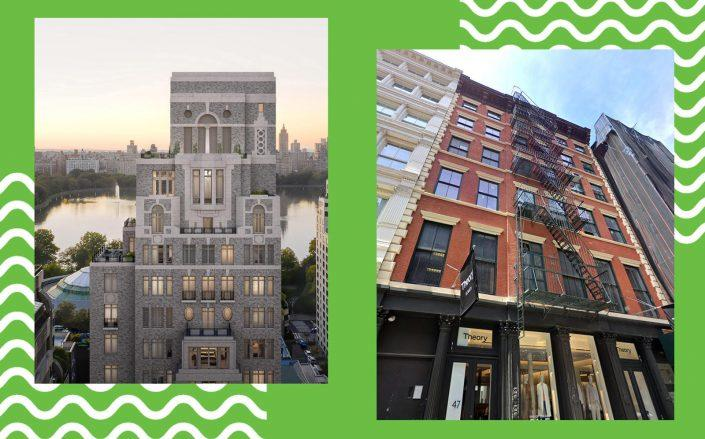 A rendering of 1228 Madison Avenue and 49 Greene Street (Photos via Robert A.M. Stern Architects; Google Maps)