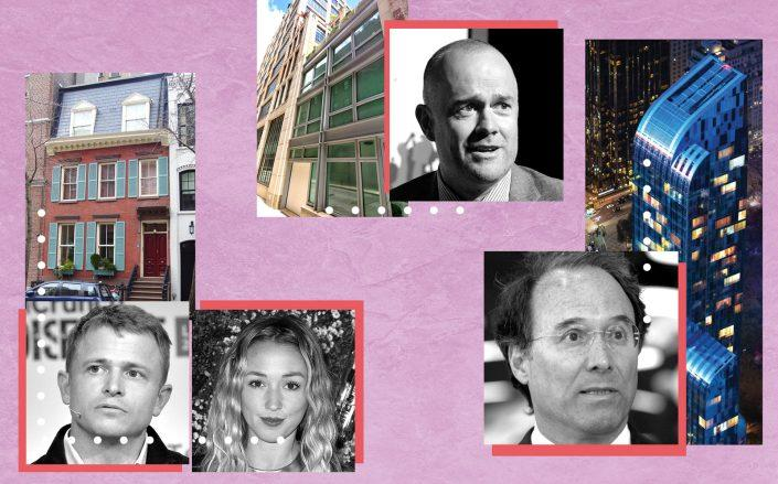Clockwise from left: 48 West 10th Street with Peter Fenton and Kate Greer, 3 Collister Street with Michael Davies and Extell's Gary Barnett with One57 (Photos via Getty; Google Maps; One57)