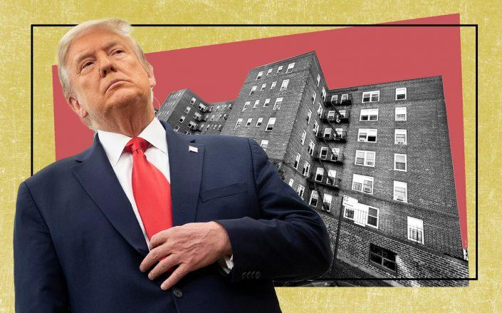 President Donald Trump and 1483 Shore Parkway in Brooklyn (Getty; Google Maps)