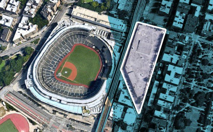 An aerial view of Yankees Stadium and the parking lot at 951 River Avenue in the Bronx (Google Maps)