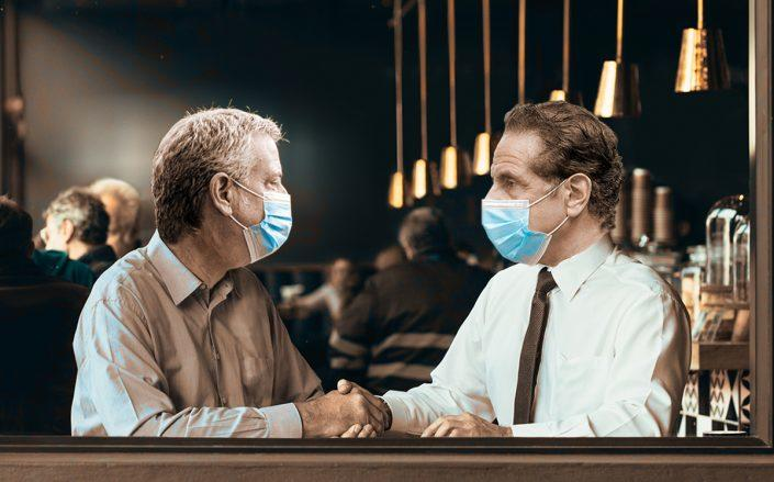 Mayor Bill de Blasio and Governor Andrew Cuomo (Getty, iStock/Illustration by Alexis Manrodt for The Real Deal)