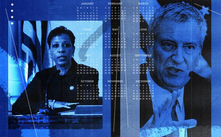 Queens Council member Adrienne Adams and Mayor Bill de Blasio (NYC Council, Getty, iStock/Illustration by Alexis Manrodt for The Real Deal)