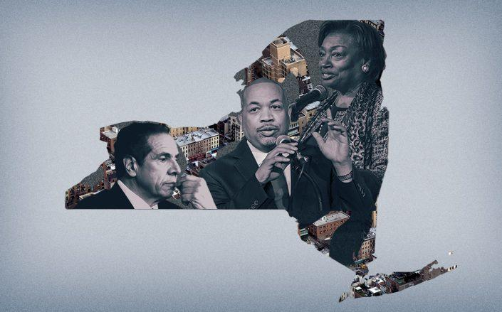 Gov. Andrew Cuomo with Assembly Speaker Carl Heastie and Senate Majority Leader Andrea Stewart-Cousins (Getty, iStock/Illustration by Alexis Manrodt for The Real Deal)