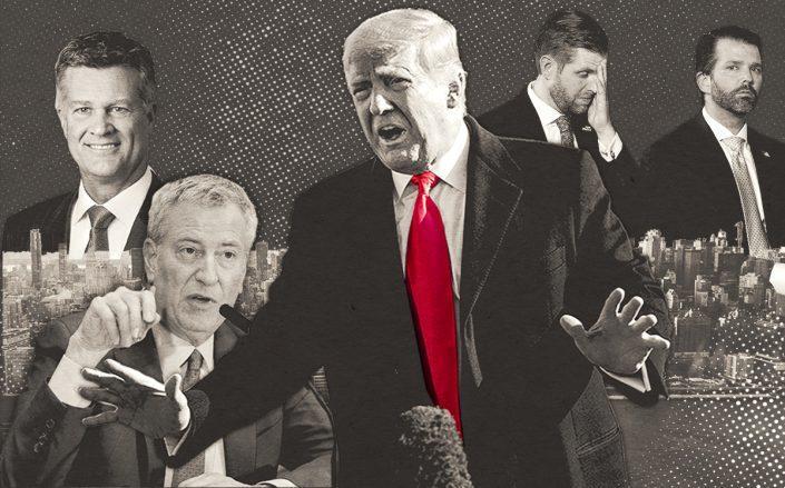 Cushman & Wakefield CEO Brett White, Mayor Bill de Blasio, and Donald Trump, Eric Trump and Donald Trump Jr. (Getty)
