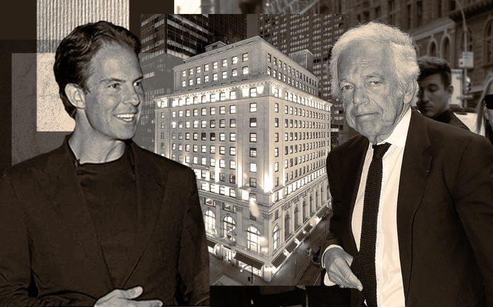 From left: Ralph Lauren and Michael Shvo with 711 Fifth Ave. (Getty, Shvo Organization)