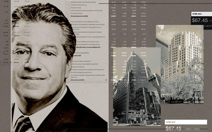 SL Green CEO Marc Holliday with 11 Madison Avenue and 100 Park Avenue (SL Green, Google Maps/Illustration by Alexis Manrodt for The Real Deal)
