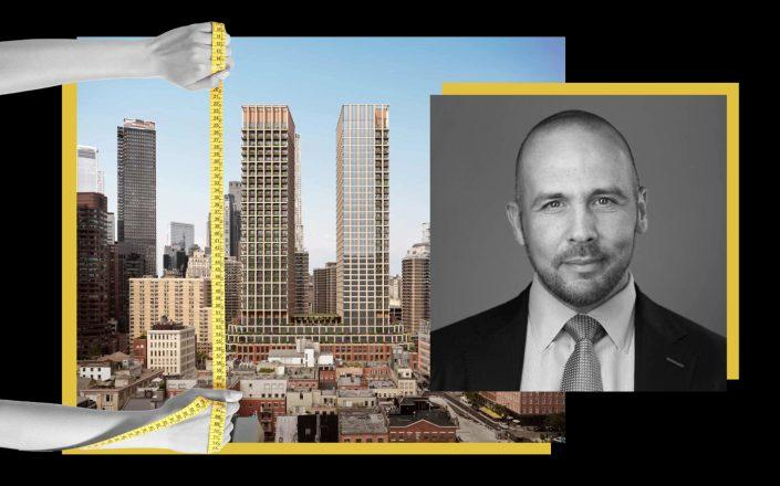 A rendering of 250 Water Street and Howard Hughes Corporation CEO David O'Reilly (SOM; Getty; iStock)