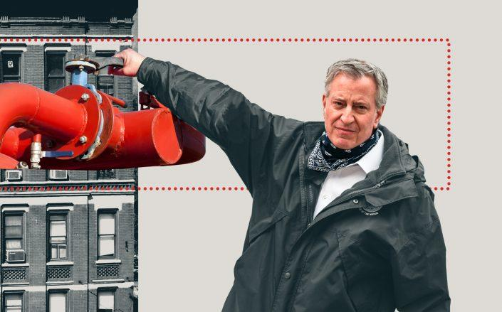 Photo Illustration of Mayor Bill de Blasio (Getty; iStock/Illustration by Kevin Rebong for The Real Deal)
