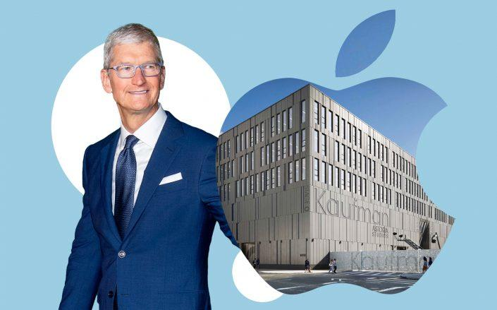 Apple CEO Tim Cook and Kaufman Astoria Studios at 34-11 36th Street in Astoria (Getty; ONstate Kaufman)