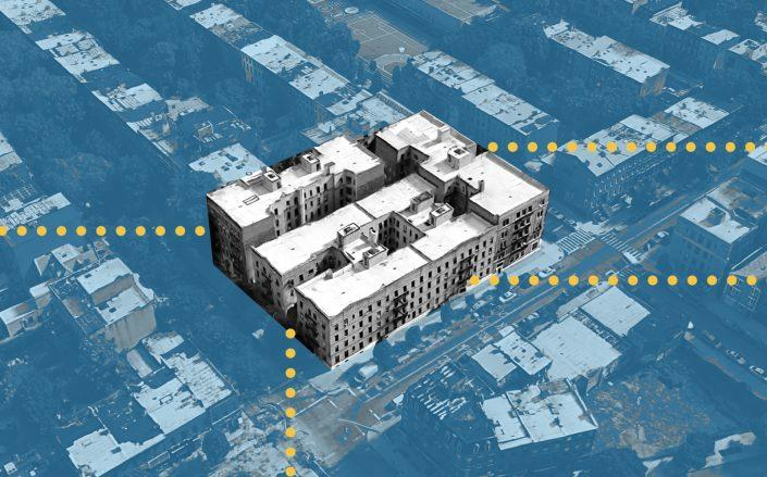 An aerial view of the four apartment buildings known as the Grand Putnam Portfolio (Google Maps)