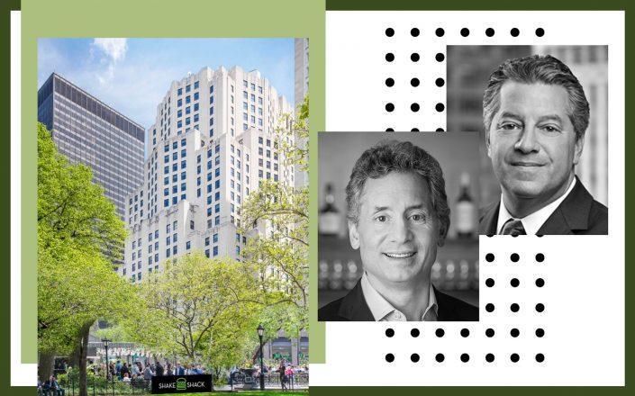 From left: 11 Madison Avenue, Beam Suntory CEO Albert Baladi and SL Green CEO Marc Holliday (Photos via Beam Suntory; SL Green)