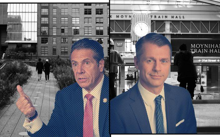 Gov. Andrew Cuomo and Brookfield's Brian Kingston with the High Line and the Moynihan Train Hall (Getty)