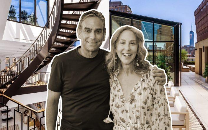 Michael and Elin Nierenberg and their newly purchased penthouse at 66 East 11th Street. (Getty, Douglas Elliman)