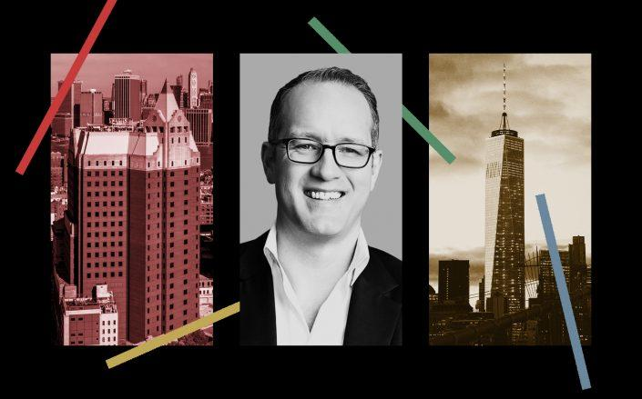 Cushman & Wakefield's Toby Dodd with One Pierrepont Plaza in Brooklyn and One World Trade Center (Photos via Cushman, Brookfield and Pixabay)