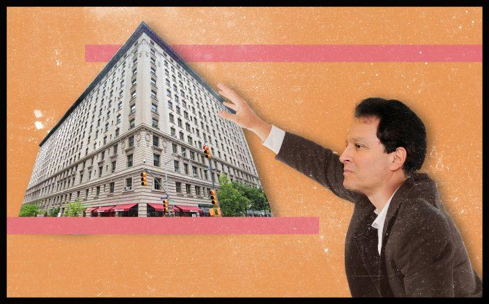 A photo illustration of the Belnord at 225 West 86th Street and HFZ CEO Ziel Feldman (Getty; iStock/Illustration by Kevin Rebong for The Real Deal)