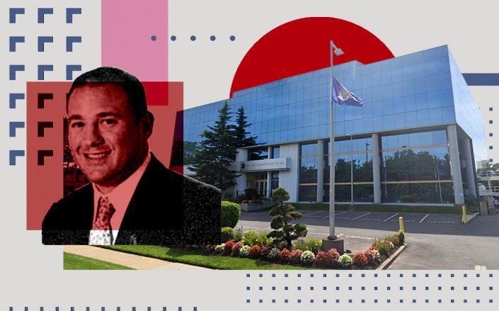 New York Community Bank's Thomas Cangemi and headquarters in Westbury, New York (Photos via Google Maps; iStock)