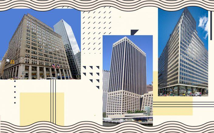 From left: 1 Park Avenue, 55 Water Street, 250 Broadway (Photos via Wikipedia, Google Maps, Eastern Consolidated)