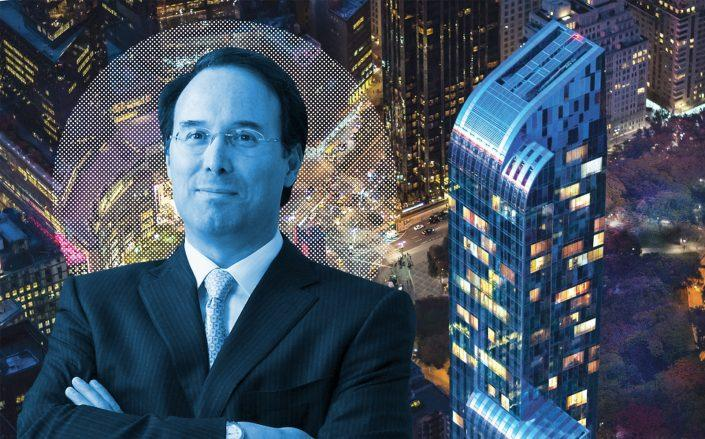 Extell CEO Gary Barnett pictured with One57. (Extell, One57)